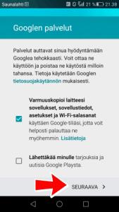 Google Play varmuuskopiointi