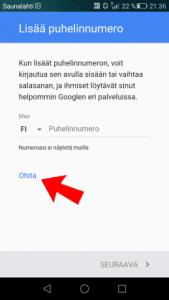 Puhelinnumeron liittäminen Google-tiliin