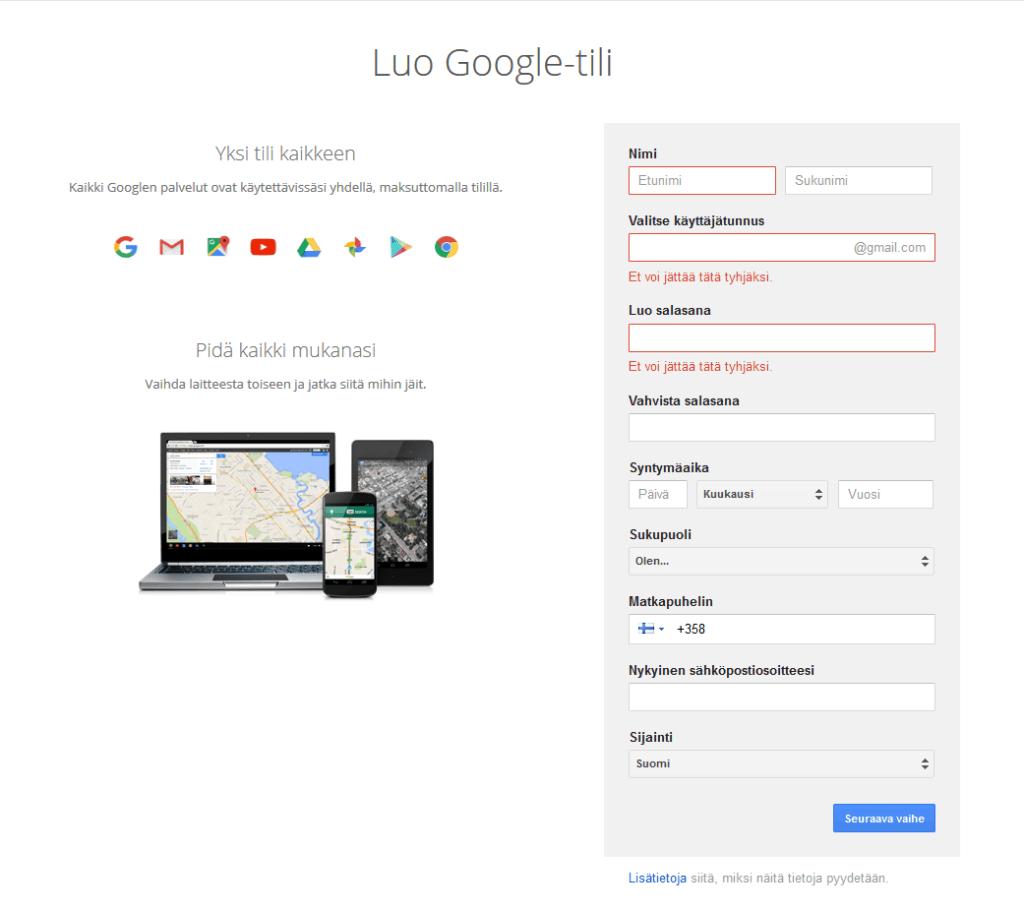 Gmailin Luominen