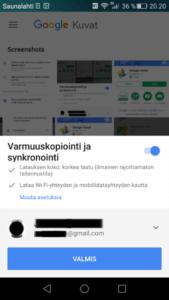 Google Kuvat aseta varmuuskopiointiasetukset