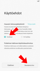 Käyttöehtojen hyväksyminen Huawei P8 ja P8 Lite älypuhelimella