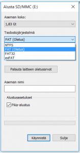Muistikortin tiedostojärjestelmän vaihtaminen