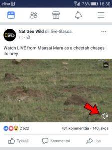 Facebook-video äänet pois päältä