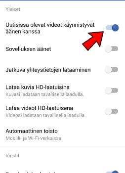 Facebook-video äänet pois