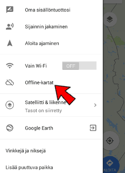Google Maps offline-kartat