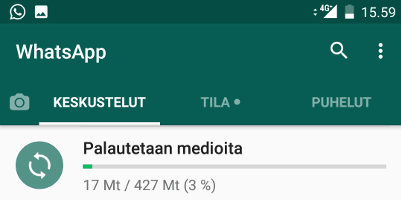 Medioiden palautus WhatsApp