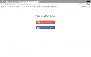 Kirjaudu Pushbullettiin Google-tilillä tai Facebookilla
