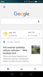 Google sovellus etusivu