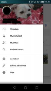 Valikko - Google sovellus