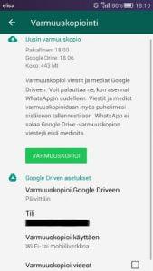 WhatsApp viestien varmuuskopiointi
