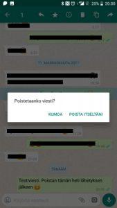 Poista WhatsApp viesti