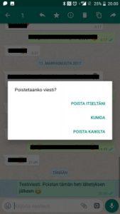 Viestin poistaminen WhatsAppista