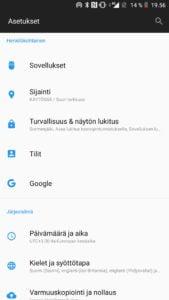 Android asetukset sijainti