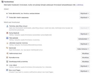 Facebookin ilmoitukset