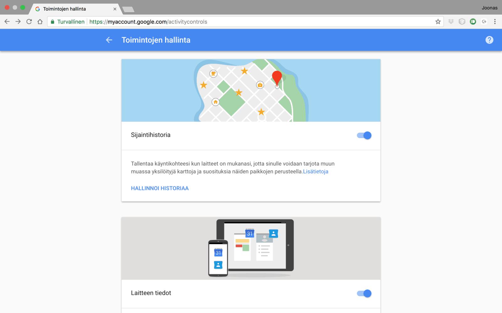 Google kytkennät sivustot