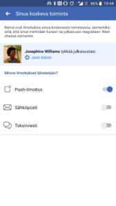 Ilmoitusten valitseminen Facebookissa