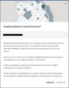 Sijainti pois käytöstä Android