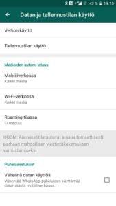 WhatsApp datan ja tallennustilan käyttö