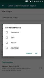 WhatsApp kuvien automaattinen tallentaminen pois käytöstä