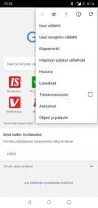 Google Chrome asetukset Android-laitteella