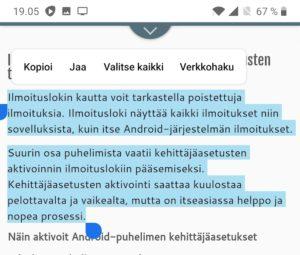 Kopioi ja liitä Android