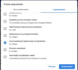 Poista lomaketiedot Chromesta