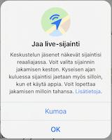 Jaa sijainti WhatsApp iPhone