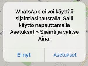 WhatsApp sijainti taustalla