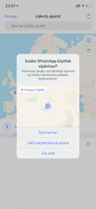 iPhone sijainnin jakaminen WhatsApp